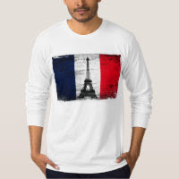 France Flag With Eiffel Tower T-shirts