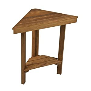 Teak Mini Corner Shower Bench with Shelf - Amazon.