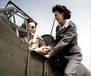 L-R, WAFS Barbara London prepares to take off ...