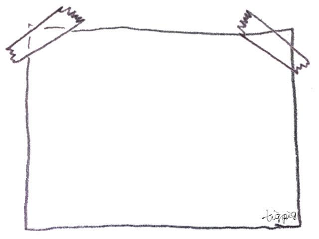 フリー素材フレーム大人可愛いモノトーンの鉛筆画のテープでとめた紙の