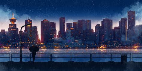 wallpaper anime cityscape raining light silhouette stars scenic wallpapermaiden