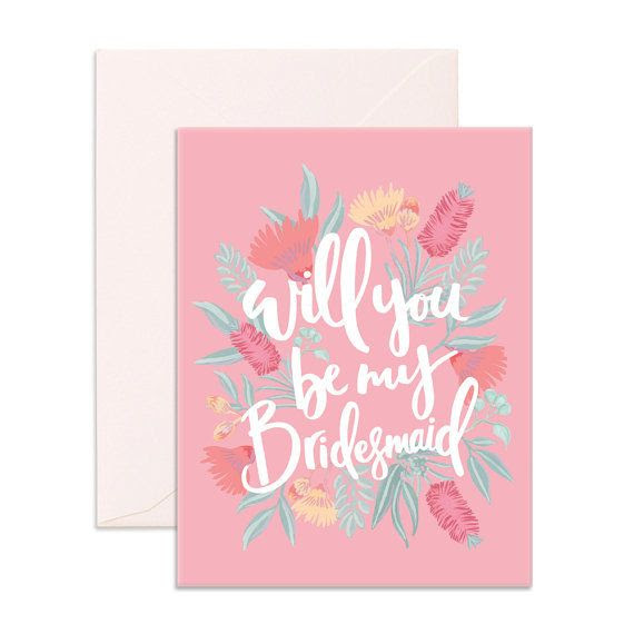 Fox And Fallow Will You Be My Bridesmaid Card Typo Market