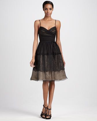 ML Monique Lhuillier Overlay Sweetheart Cocktail Dress