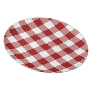 Red and White Gingham Pattern Dinner Plates