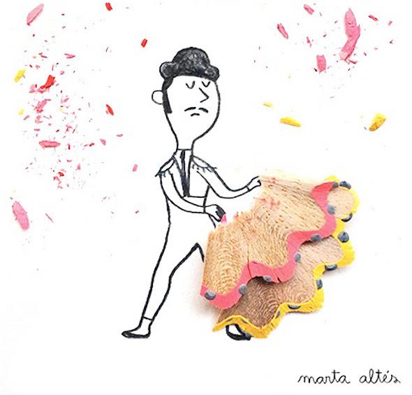 2 Illustrations Copeaux Crayons Marta Altes Illustrations Poetiques aux Copeaux de Crayons par Marta Altés