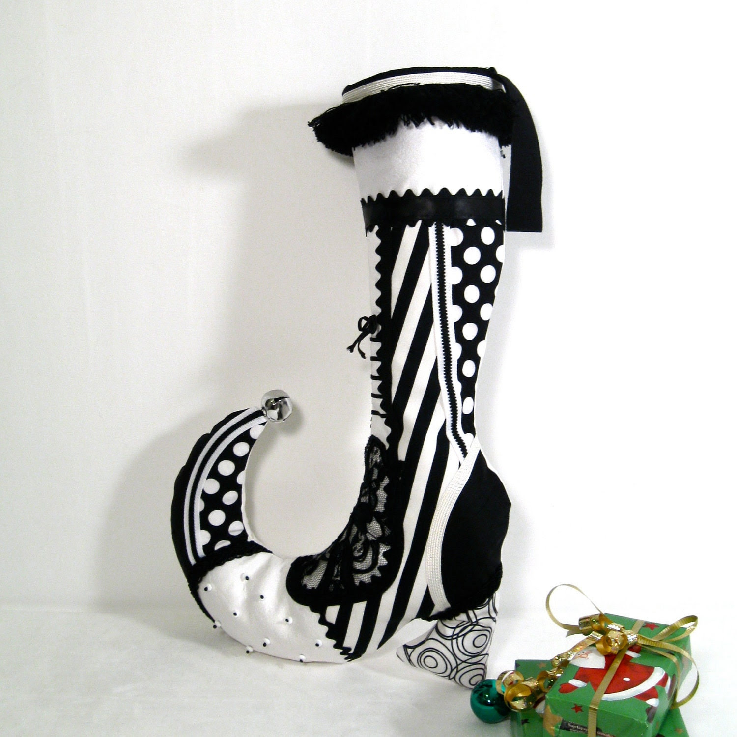 Victorian Christmas Stocking - Black White - Whimsical Holiday Decor - Decorative Elf Shoe Granny Boot - Silk - Silver Bells - 17 X 12 inch