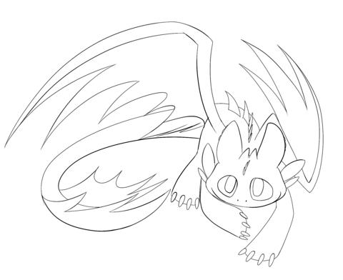 Night Fury Dragon Drawing