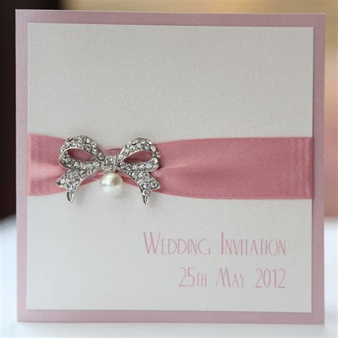 Ivory & Pink Vintage Pearl Bow Wedding Invitation