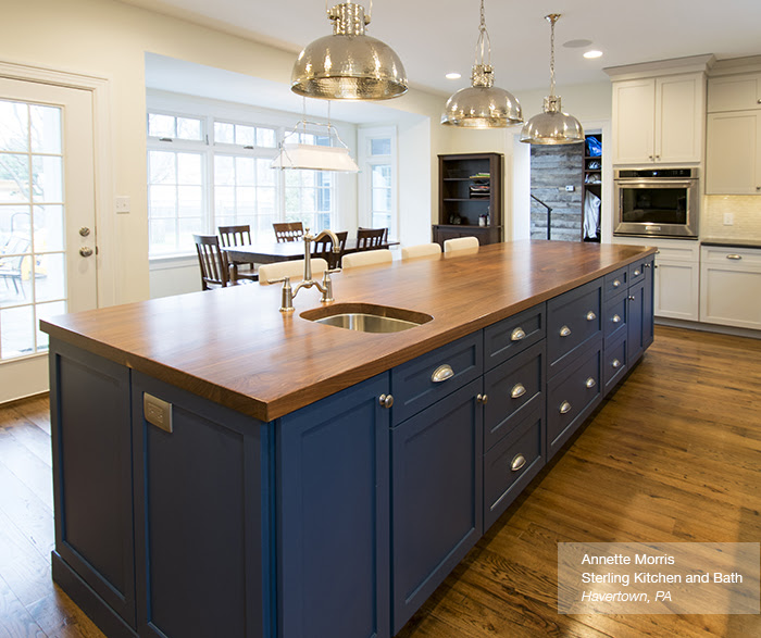 Off White Cabinets with a Blue Kitchen Island - Omega