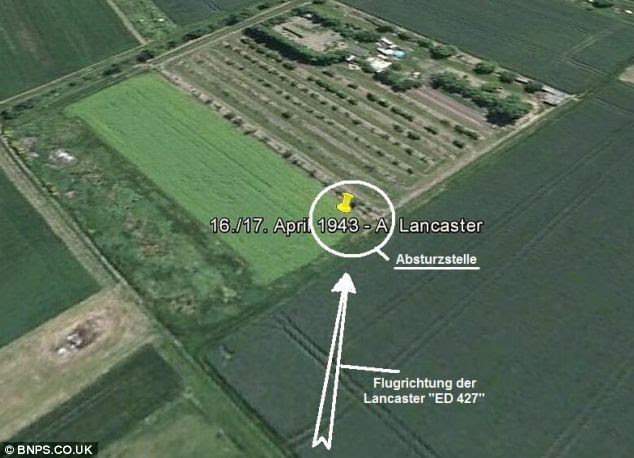 Fatal flight: A graphic of the site in Laumersheim, Germany, where the Lancaster crashed 70 years ago