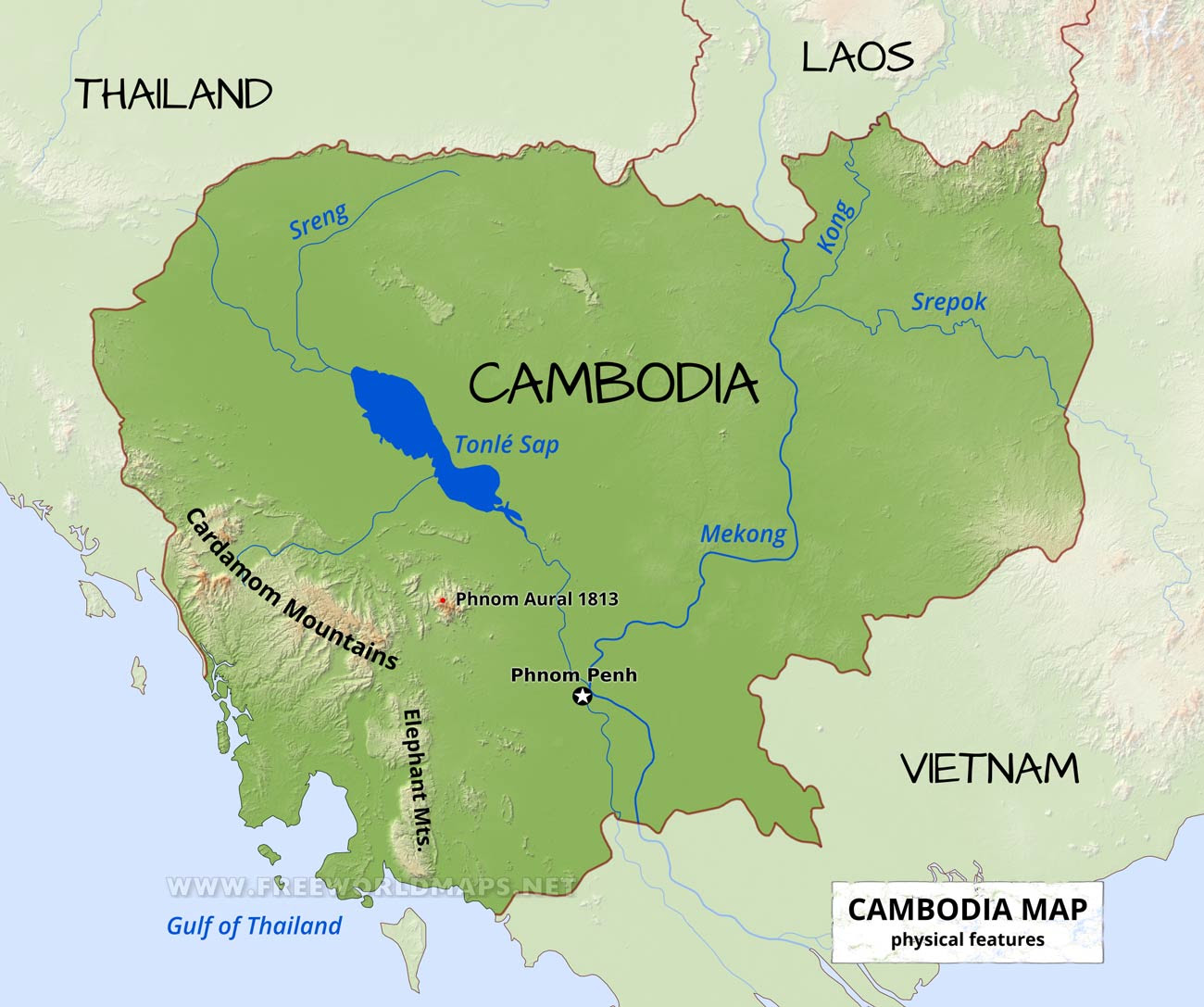 cambodia physical map