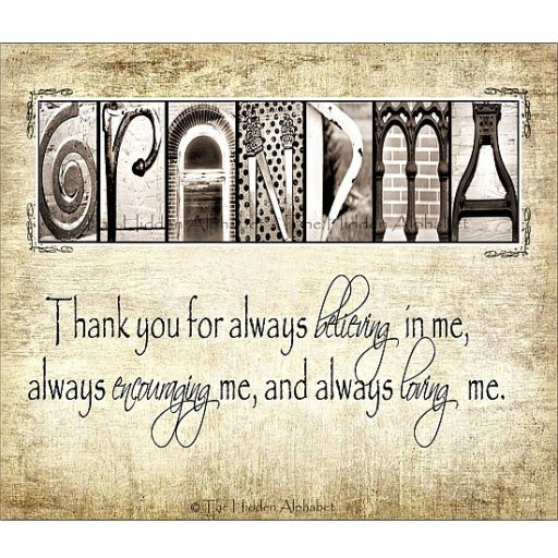Grandma Thank You For Always Believing In Me Quote Picture