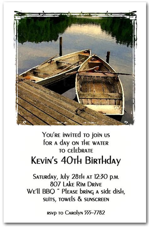 Rowboats on the Lake Party Invitations