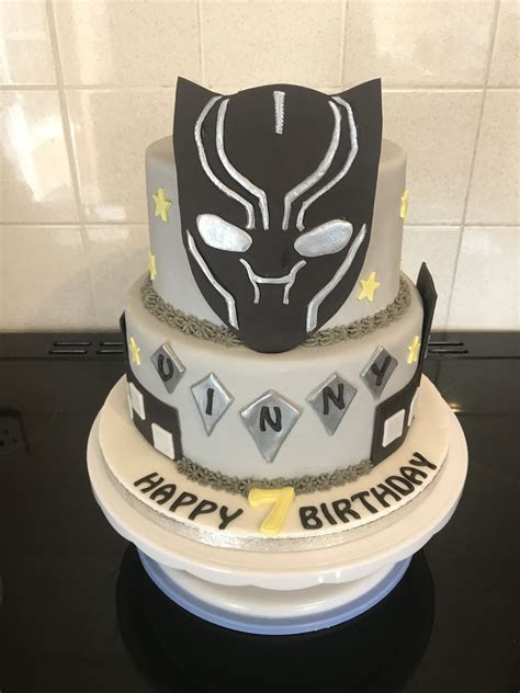 Black panther cake   Kaisons 6th Birthday in 2019   Black