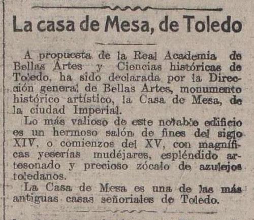 Noticia de declaración d ela casa de Mesa como Monumento Histórico Artístico el 21 de enero de 1922 en el periódico La Acción