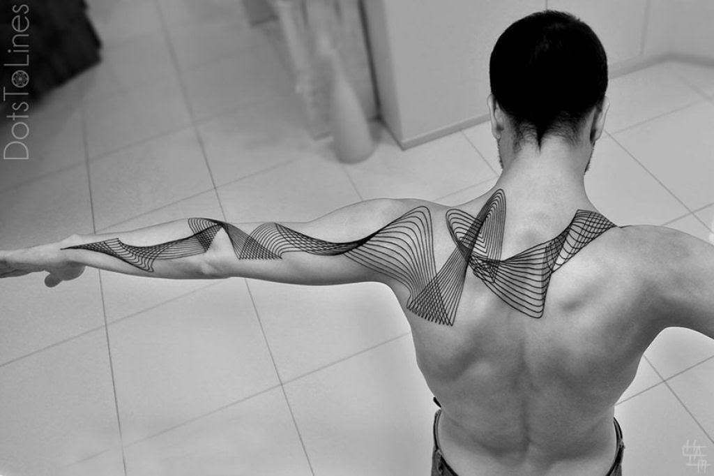 Estas 20 tatuagens lineares geométricas feitas por Chaim Machlev flutuam elegantemente pelo corpo 20
