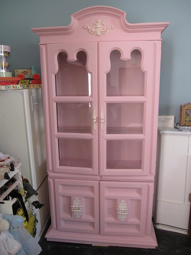 Painted China Cabinet, Pink, Finished