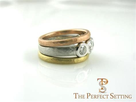 Custom Tri Gold 5 Stone Bezel Set Diamond Ring ? The