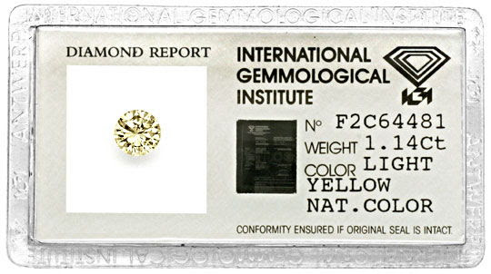 Originalfoto DIAMANT BRILLANT IGI GUTACHTEN LIGHT YELLOW