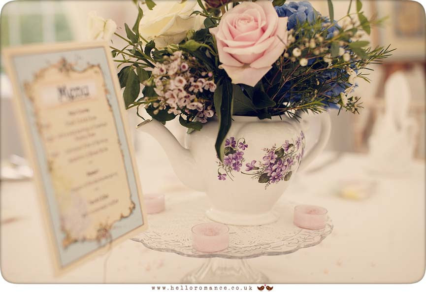Vintage Flowers, Cente Piece, Center piece, Vintage China - Glemham Hall Wedding Photography Suffolk - Hello Romance