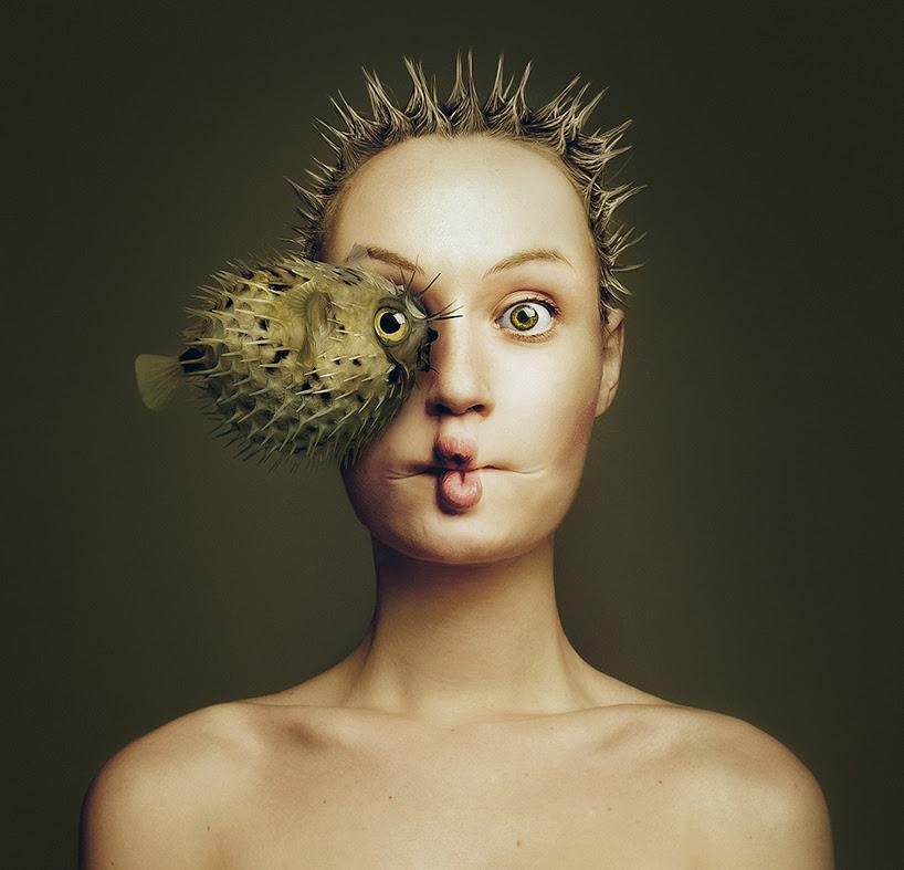 flora borsi combines human + animal features into a single self-portrait