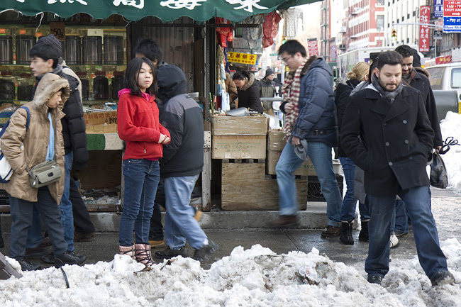 Snow, in Chinatown NYC