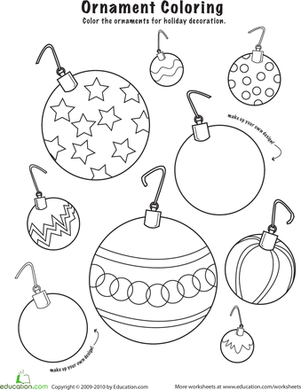 Christmas Ornaments to Color | Worksheet | Education.com