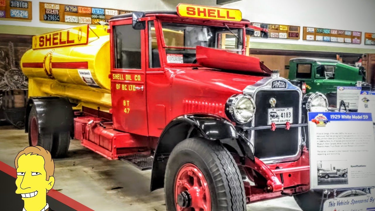 vintage red and yellow shell truck on display at BC Vintage Truck Museum