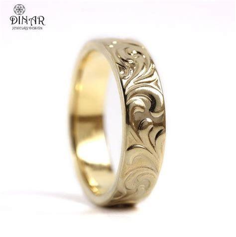 14k Yellow Gold band, Art Deco wedding ring band, women's