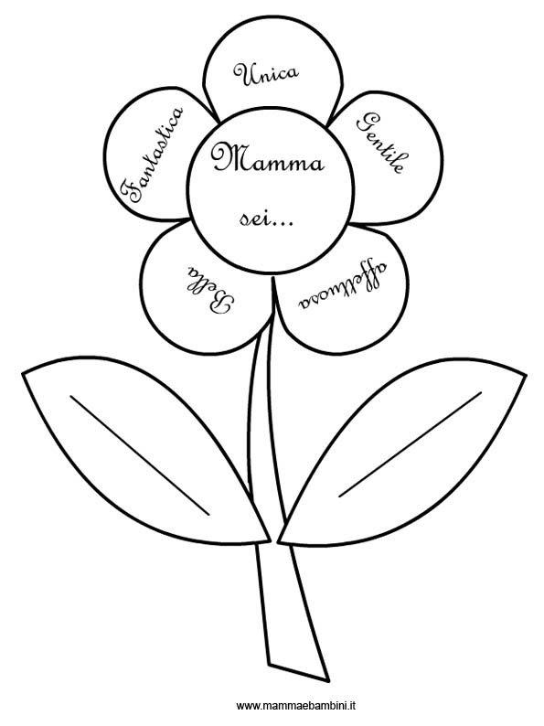 Fiore Da Colorare Con Dedica Per La Mamma Mamma E Bambini