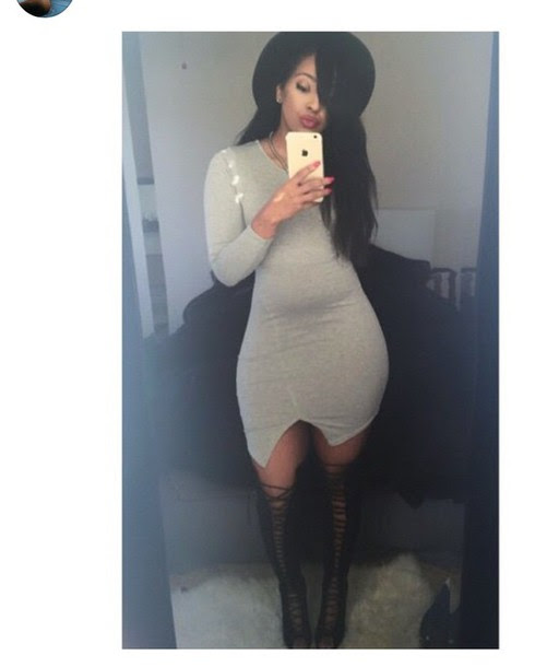 Grey bodycon dress with over the knee boots