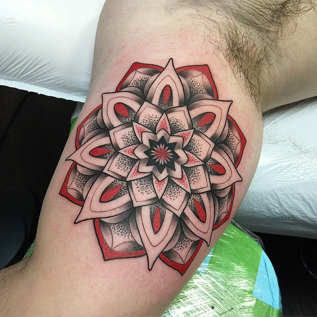 Black And Red Mandala Flower Tattoo On Biceps Best Tattoo Ideas