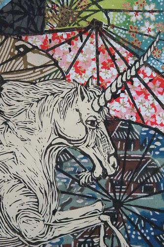 Unicorn Amongst Umbrellas II detail