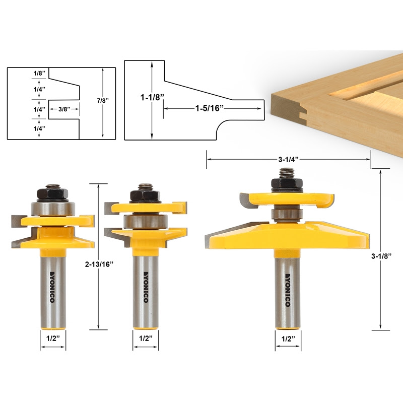 Shaker 3 Bit Raised Panel Cabinet Door Router Bit Set With Back Cutter Panel Raiser 12 Shank Yonico 12350