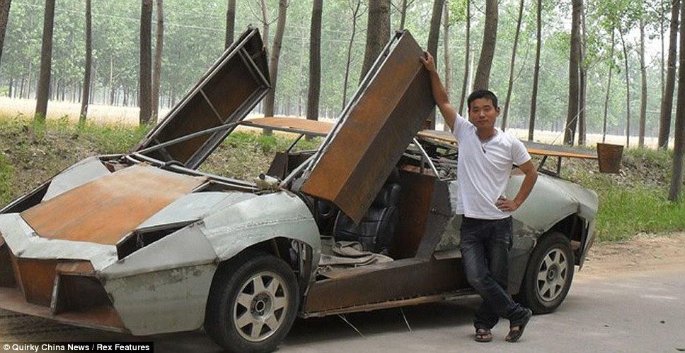 Wang Jian proudly stands next to the homemade Lamborghini Reventon sports car he has built in the Jiangsu province of China