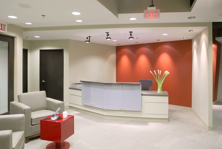 Office Workspace Design Small Front Lobby Grey Sofa Modern Office