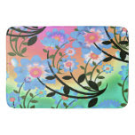 Pretty Abstract Multicolored Flowers Blue Bath Mats