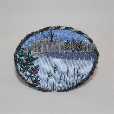 Embroidered Brooch   Winter Landscape   Lakeside   Folksy