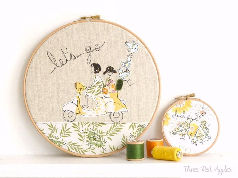 "Embroidery Hoop Art - 'Let's go' Textile illustration in yellow & green - large 10"" hoop - ThreeRedApples"