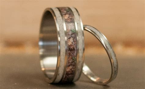mens wedding band matching set camo elk antler rings womens