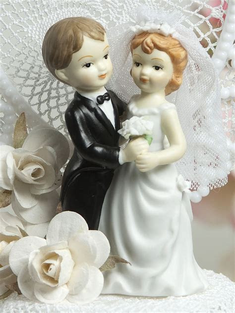 Vintage Style Wedding Cake Topper Figurine   Wedding