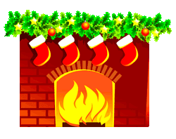 A fireplace with a hanging stockings