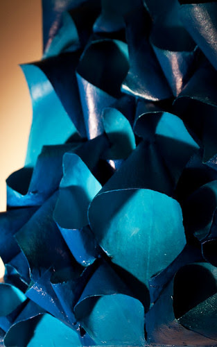 Sapphire Desire - manganese cerulean turquoise blue sculptural bas-relief painting by Tiffany Gholar