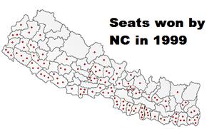 Seats won by Nepali Congress