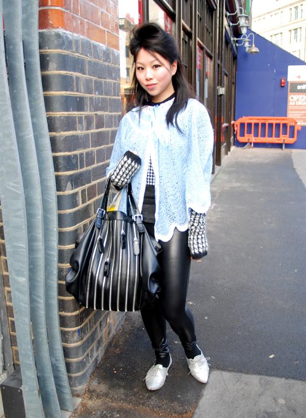 blue cardi and zipper bag