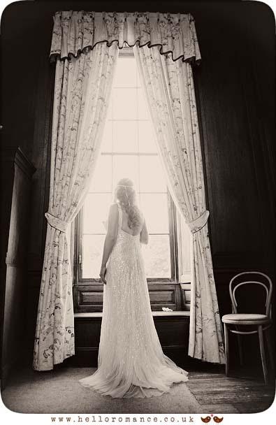 Bride Black & White Window Portrait Glemham Hall Wedding Photography Suffolk - Hello Romance