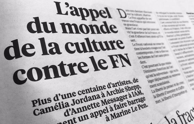 «Libé» a publié le 3 avril 2017 un appel signé à faire barrage au FN aux élections signé par une centaine de personnalité du monde des arts et de la culture.