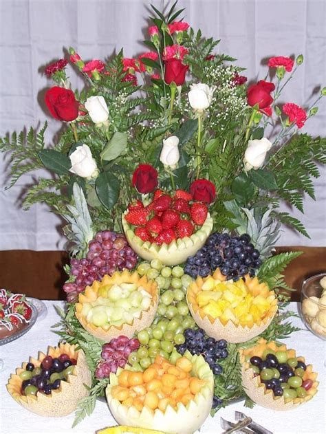 Flowers and fruit cascade.   Wedding Reception Food