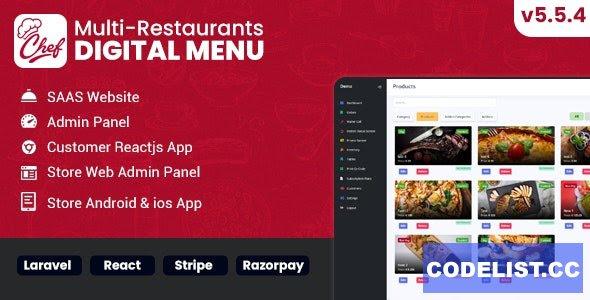 Chef v5.5.4 - Multi-restaurant Saas - Contact less Digital Menu Admin Panel with - React Native App