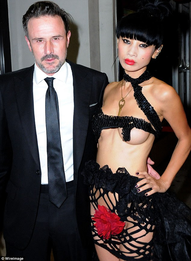 Risque night out: David Arquette and Bai Ling attend the screening of their new film The Key at The Real Experimental Film Festival in Beverly Hills, California on Friday